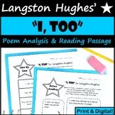 I , Too Langston Hughes Poetry Analysis - Printable & Digital