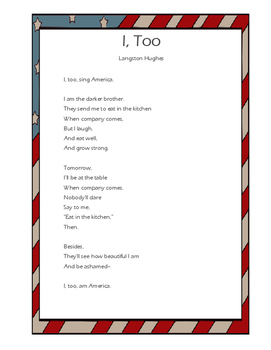 """""""I Too"""" Poem and Analysis Activity"""