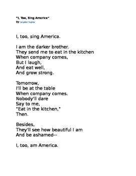 """I, Too, Sing America"" Langston Hughes Poem"