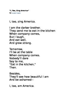 """I, Too, Sing America"" Langston Hughes Poem"