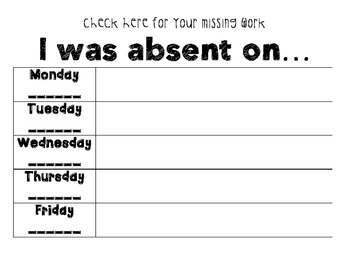 *I WAS ABSENT WEEKLY CALENDAR* FREE PRINTABLE *