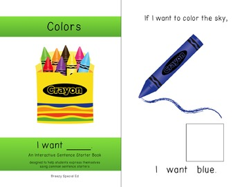 """I Want"" Interactive / Adapted Sentence Starter Book - special education"
