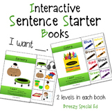 """""""I Want"""" Interactive / Adapted Sentence Starter Book - spe"""