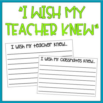 """I Wish My Teacher Knew"" Writing Prompts"