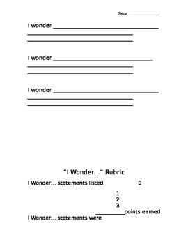 """I Wonder..."" ELA Lesson Resources"