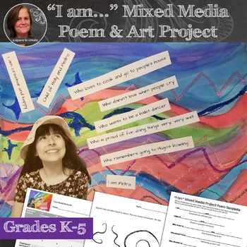 """""""I am..."""" Mixed Media Poem and Art Project and back to school activity"""