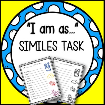 """I am as..."" Creative Similes Task (Great Lesson/ Literacy Center Idea)"
