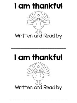 """""""I am thankful"""" FOR sight word book"""