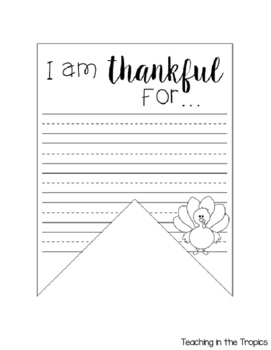 """I am thankful"" Thanksgiving Banner Activity"