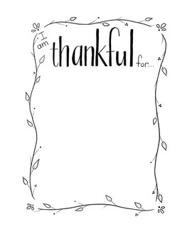 """I am thankful for..."" Printable"