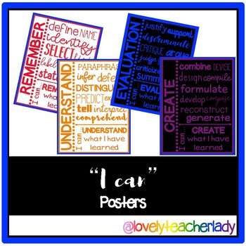"""I can"" Posters (Bloom's Taxonomy)"