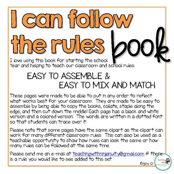 """I can follow the rules"" Classroom Rules Book"