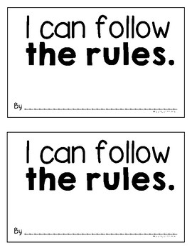 """""""I can follow the rules"""" Classroom Rules Book"""