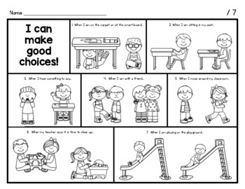 """""""I can make good choices!"""" worksheet  - Perfect for learning SCHOOL RULES!"""