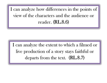 """""""I can statements""""  - 8th Grade ELA Reading Learning Targets"""
