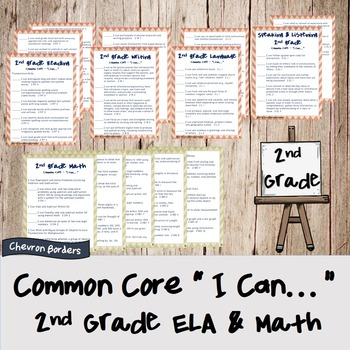 """""""I can..."""" statements for Common Core ELA & Math standards (2nd grade)"""