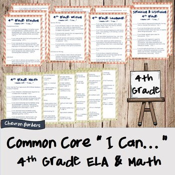 """I can..."" statements for Common Core ELA & Math standards (4th grade)"