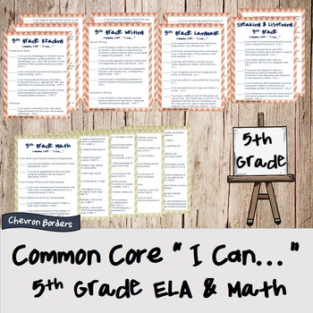 """""""I can..."""" statements for Common Core ELA & Math standards (5th grade)"""