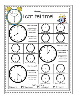 """I can tell time"" - No prep, Print and Go! FREEBIE"