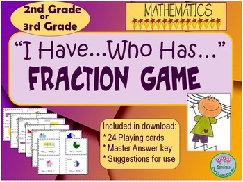 """""""I have...Who has..."""" Fraction Game for 2nd or 3rd Grade. 24 Game Cards"""