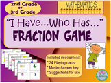 """I have...Who has..."" Fraction Game for 2nd or 3rd Grade. 24 Game Cards"