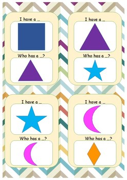 """""""I have... Who has...?"""" Game. Shapes."""