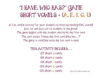 """I have, Who has?"" Short Vowel Game (A, E, I, O, U) *BUNDLE*"
