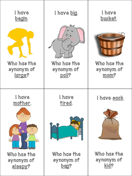 """""""I have...Who has...?"""" Synonyms & Antonyms"""