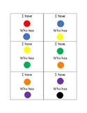 """""""I have ______"""" """"Who has ______?"""" Color Card Game"""