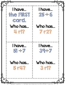 """""""I have, who has..."""" 2-digit Division with Remainders Math Center {Game}"""