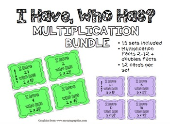 """I have, who has?"" Multiplication Bundle (x2-x12)"