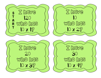 """""""I have, who has?"""" Multiplication Facts x10"""