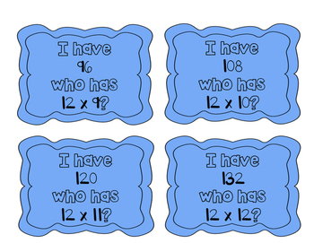 """""""I have, who has?"""" Multiplication Facts x12"""