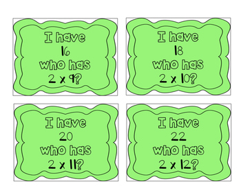 """I have, who has?"" Multiplication Facts x2"