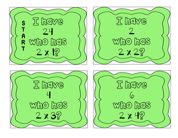 """""""I have, who has?"""" Multiplication Facts x2"""