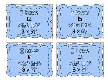 """""""I have, who has?"""" Multiplication Facts x3"""