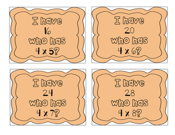 """I have, who has?"" Multiplication Facts x4"