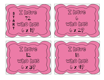 """""""I have, who has?"""" Multiplication Facts x6"""