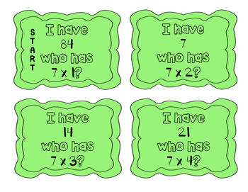 """""""I have, who has?"""" Multiplication Facts x7"""