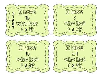 """I have, who has?"" Multiplication Facts x8"
