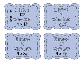 """""""I have, who has?"""" Multiplication Facts x9"""