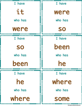 """""""I have who has"""" Sight Word Game: Set 2"""