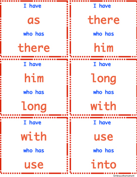 """""""I have who has"""" Sight Word Game: Set 3"""