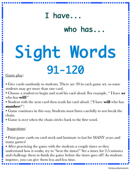 """I have who has"" Sight Word Game: Set 4"
