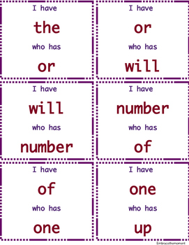 """I have who has"" Sight Word Game: Set 1"
