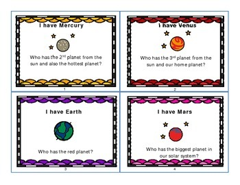 """""""I have, who has?"""" Solar System game"""