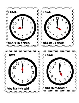 """I have, who has"" clock activity hours"