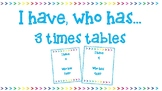 'I have, who has' for 3 times tables