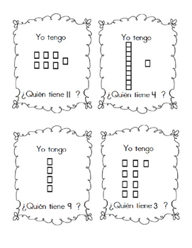 """I have, who has"" in Spanish base ten blocks 1-30"