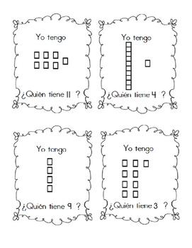 """I have, who has"" in Spanish base ten blocks 1-30"